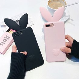 Wholesale Bunny Tails - Coque Silicone 3D Cute Bunny Rabbit Ears Tail Back Phone Coque Cover For Apple iPhone 6 6s plus 7 plus 5 5S SE Case Capa fundas