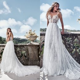 Wholesale Ling Dresses - Sexy 2017 New Spaghetti Backless Lace A-line Wedding Dresses Solo Merav Cheap Champagne Ling Top Long Bridal Gowns Beach Garden EN11126