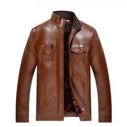 Wholesale Purple Leather Bomber Jacket - autumn Winter men bomber jackets thick zipper Faux Leather black male casual Motorcycle jacket Cheap plus size 4XL coat