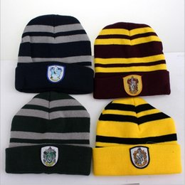 Wholesale Easter Character Costume - 50Pcs Harry Potter Beanie Ravenclaw Gryffindor Skull Caps Slytherin Hufflepuff Knit Hats Cosplay Costume Caps School Striped Badge Hats Gift
