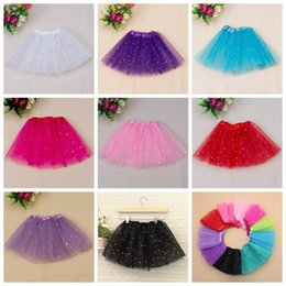 Wholesale Chiffon Skirt Wholesale - kids girl star glitter dance tutu skirt sequin with 3 layers tulle tutu toddler girl chiffon Birthday Party free shipping