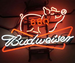"""Wholesale Bbq Signs - 17""""x14"""" New Budweiser BBQ Beer Bar Bud Light Barbecue Neon Sign"""
