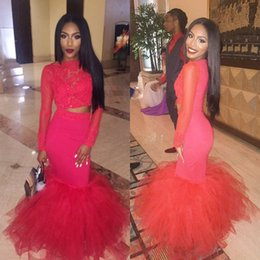 Wholesale two piece fake dresses - Hot Pink Long Sleeve Lace Mermaid Prom Dresses 2017 Floor Length Fake Two Piece Prom Evening Gowns Formal Dress Fast Shipping