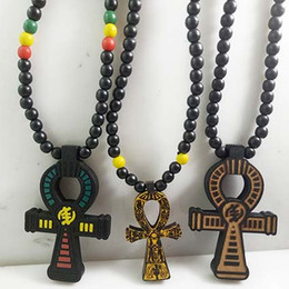 Wholesale Hip Hop Goodwood Necklace - ANKH Egyptian Power of Life Cross Good Wood Hip Hop Goodwood Fashion Necklace