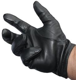 Guantes de hombre online-CALIENTE Nuevos hombres de la policía guantes tácticos de cuero negro Tops talla M / L / XL mejor precio K144
