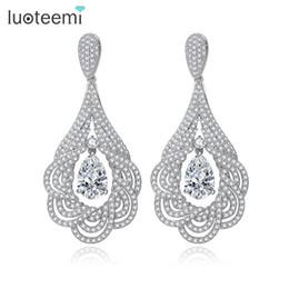 Wholesale Luxurious Wedding Earrings - LUOTEEMI New Luxurious Big Flower Pendant Drop Earrings Micro Paved Tiny CZ Brincos Bridal Wedding Jewelry Ear Accessories