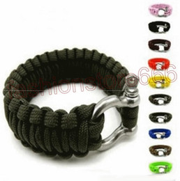 Wholesale Survival Bracelet U Clasp - Survival Bracelets Paracord Parachute Camping Bracelet Stainless Steel U Clasp Escape Life-saving Bracelet Hand Made wristband Outdoor Gear