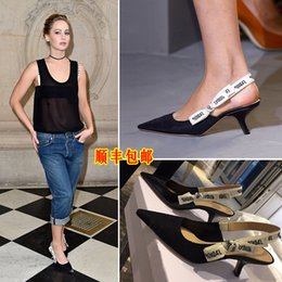 Wholesale Med Designs - 2017 spring summer women fashion design D brand letters bowtie high heels sandals ladies party dress shoes