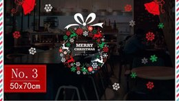 Wholesale Windows Clings - Christmas Decorations Christmas Tree Santa Claus Stickers Living Room Bedroom Window Transparent PVC Wall Stickers 70*50CM