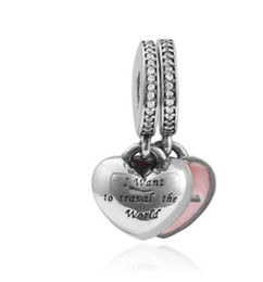 Wholesale Travel Charms Sterling Silver - Fits Pandora Bracelets 30pcs I want to travel with U Enamel Charm Bead Loose Beads For Wholesale Diy European Sterling Necklace Women Jewelr