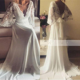Wholesale Champagne Wedding Gowns Prices - Charming BoHo Style Wedding dress Deep V-Neck Sexy Backless Cheap Price Vestido De Novia Sweep Train Chiffon Country Bridal Gowns
