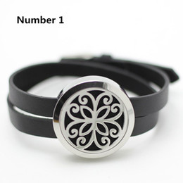 Wholesale Leather Bracelets Flowers - Wholesale leather bracelet 25mm 30mm oil diffuser locket bracelet silver twist 316L stainless steel aromatherapy locket bracelet
