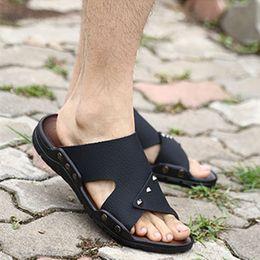 Wholesale Pedals Straps - Wholesale-Summer Tide Mens Slippers 2016 British Fashion Man Sandals Genuine Cow Leather Lazy A Pedal Size 40-44 Flip Flops Hot