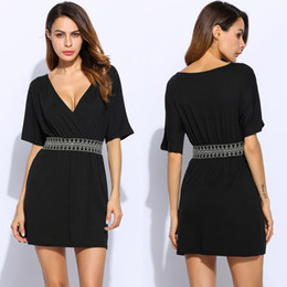 Wholesale Arrival Lady Fashion Dress Sleeve - fashion new arrival women's clothing lady sexy Crossover V Neck Half Sleeve Elastic Waist Casual black Mini Dress