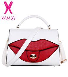 Wholesale red lips phone - Wholesale-YANXI new Popular Big Lips Pattern Women Lady Clutch Chain Shouder Bag White red Shape pu Leather messenger bags Handbags Sacs