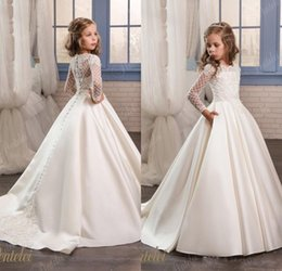 Wholesale long sleeve first communion dresses - 2017 Ivory Flower Girl Dresses For Weddings Long Sleeve Satin Beaded Appliques First Communion Dresses Girls Pageant Gowns for Birthday