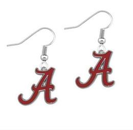 Wholesale Logo Fashion Earrings - Enamel University Of Alabama Crimson Tide Team Logo Charm Drop Earring Alloy NCAA Fans Earring Fashion Sport Earring Women Jewelry