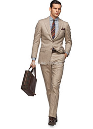 Wholesale Two Piece Men S Pants - Wholesale- HOT SELLING 100% wool Hand made camel 2 pieces(jacket t+pants) two buttons notch lapel handmade man suit