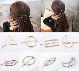 Wholesale Metal Hair Clip Ponytail - New Fashion Women Girls Gold Silver Plated Metal Triangle Circle Moon Hair Clips Metal Circle Hairpins Holder Hair Accessories