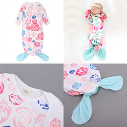 Wholesale Cheap Printed Cotton Bags - Baby Sleeping Bags Floral Printed Mermaid Pajamas Cotton Air conditioner Warm Jumpsuits New Kids Clothing Cheap Free DHL 478