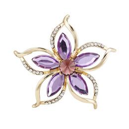 Wholesale Flower Bouquet Jewelry - Wholesale- Fashion New Bouquet Brooch Vintage Purple Flower Rhinestone Jewelry Bride Brooch Pins for Women Wedding Brooch Free Shipping