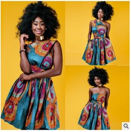 Wholesale Woman Clothed Back - Dashiki Africa Bazin Riche Wax Print Dresses Sexy Summer Off Shoulder African Print Clothing For Women Back Cross Ankara Dress Vestidos