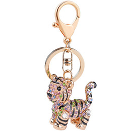 Wholesale Wholesale Tiger Keychain - Bling Bling Crystal Rhinestone Tiger Metal Keychain Keyring Car Keychains Purse Charms Handbag Pendant Wedding Gift