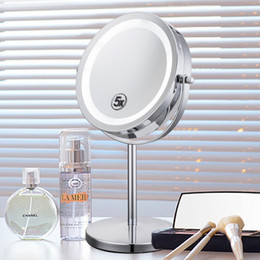 Wholesale 5x Magnifying - 6 Inch 5x Magnification Cosmetic Makeup Mirror Round Shape 2Sided Rotating Magnifier Mirror Magnifying Stand Mirror for Make up Free Shippin