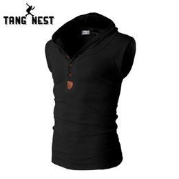 Wholesale Fitness Vest Men Slimmer - Wholesale- New 2017 Fashion Decoration Solid Color Men's Vest Korean Style Slim Soft Fitness Hooded Vest Male 8 Colors MBS049
