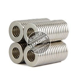 Wholesale Disc Magnet Hole - Free shipping rare earth permanent strong neodymium magnet 6pcs disc 25x4mm hole 6-10mm n50 bulk magnets nickel