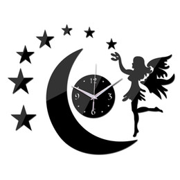 Wholesale 3d Fairy Stickers - Wholesale- 2016 real hot sale quartz watch wall clock 3d stickers mirror fairy moon decal home decoration decor free shipping living room