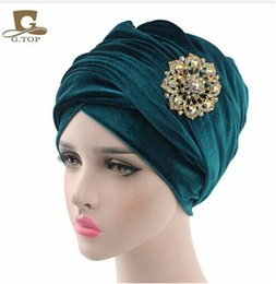 Wholesale Yellow Jewelry Scarves - NEW luxury velvet Turban hijab Head Wrap Extra Long velour tube indian Headwrap Scarf Tie with the jewelry brooch