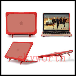 """Wholesale Body Slim China - High Quality Ultra Slim Front + Back Full Body TPU + PC Shockproof Case Cover Stand for Macbook Pro 13.3"""" 12 15.4 Retina"""