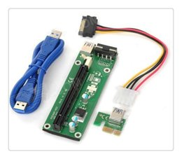 Wholesale Data Cabling Supplies - Wholesale PCIe PCI-E PCI Express Riser Card 1x to 16x USB 3.0 Data Cable SATA to 4Pin IDE Molex Power Supply for BTC Miner Machine RIG