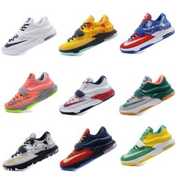 Wholesale Kd Basketball Shoes Blue - 2017 Free Shipping New arrival KD VII Basketball Shoes Men KD 7 Retro Sneakers Kevin Durant KD7 Original Sport Shoes Size 7-12