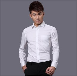 Wholesale Good Casual Dressed Men - 2017 New Arrival Good Quality Men's Wedding Apparel Polo Groom Shirts Men Wear Clothing Shirt ( 38--46 ) V05
