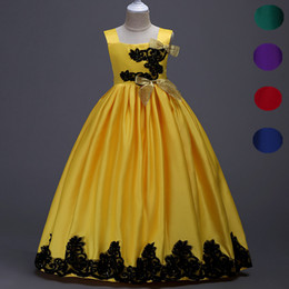 Wholesale Bohemian Formal Dress Lace - Long Party Pageant Prom Dresses Satin Formal Flower Girl Ball Gown Teens Junior Kids Children Clothes