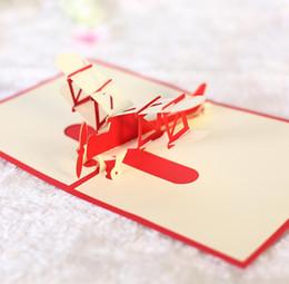 Origami hochzeit pop-up-karten online-10 stücke Flugzeug Handgemachte Kirigami Origami 3D Pop UP Grußkarten einladungskarte Für Hochzeit Weihnachten Geburtstagsfeier Geschenk