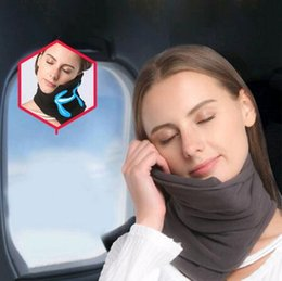 Wholesale 5 Colors Soft Neck Pillow Inflatable Neck Pillow Comfortable Travel Pillows For Sleep Home Textile Memory Foam Airplane Neck CCA6525