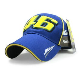 Wholesale Race Car Table - Wholesale- IGGY Brand MOTO GP VR 46 rossi Baseball Cap Hat Black Blue cap Car Motocycle Racing Cotton Snapback Hats Caps