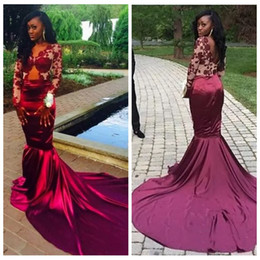 Wholesale Lady Like Sexy Evening Dress - 2017 Sheer Long Sleeves Lace Mermaid Evening Dresses Lace Appliques Slim African Prom Dresses Vestiods Formal Ladies De Soiree