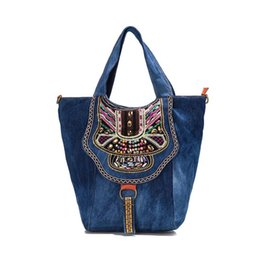 Wholesale Gem Handbags - Wholesale-COUPON chinese ethnic national style Denim women handbag shoulder casual tote bags lady embroidered flowers colorful gems Jewels