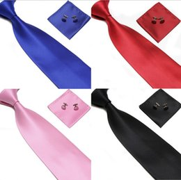Wholesale Men S Silk Business Ties - Men 's Tie Cuff Links 100% SILK Handkerchief Set New Christmas Gift free shipping