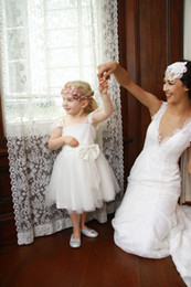 Wholesale Junior Dancing Dress - Elegant Simple Tulle White Ivory First Communion Dresses Junior Girl Party Gowns New Flower Girl Dresses Bow Wedding Dance Gowns Customize