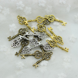 Wholesale Silver Vintage Keys - Sweet Bell Min order 100pcs 10*27mm Three Color Vintage Metal Alloy Keys Jewelry Charms Jewelry Pendant Fit Jewelry Making Pendants D0560