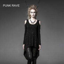 Wholesale Visual Kei - Wholesale- Punk Rave Gothic Summer Rock Black Visual Kei Womens fashion Long Cardigan Tee Shirt Top free size PT025