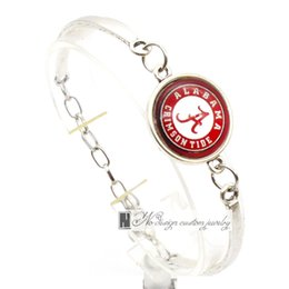 Wholesale Sport Bracelet Team - 2017 Fashion Bracelet&Bangle Alabama Crimson Tide NACC University Team Sport Charms Bracelet for Women Fan Jewelry SP016
