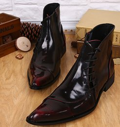 Wholesale Thanksgiving Plus Size Tops - 2016 New Plus Size Men Shoes Red Wedding Men Boots Business Pointed Toe Retro Style High Top Autumn Winter Ankle Boots Leather Oxfords