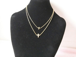 Wholesale Dolphin Necklace Mix - Mix styles 14 k gold Cross the small dolphin animals diamond double-deck necklaces female Lasting treasure color collarbone chain necklaces