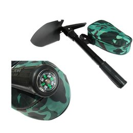 Wholesale Multi Axe - Black Multi-Functions and Foldable Mini Size Camping Survival 5 In 1 Shovel Axe Saw Opener Compass Emergency Gear Tools